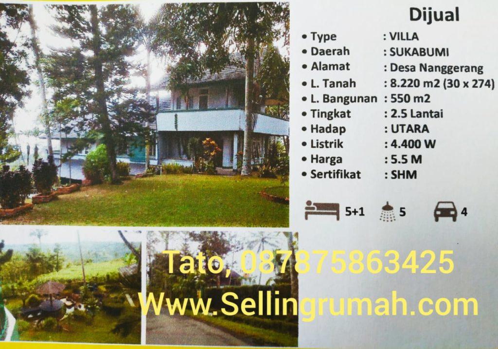 Jual Villa Lido Sukabumi 8200m SHM Sellingrumah 087875863425