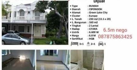 Rumah Dijual Green Lake Cluster Europe view Danau Tato 087875863425